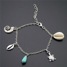 Silver Shell Conch Turtle Blue Bead Charms Chain Anklets Handmade Ocean Jewelry For Beach Gift To Women E1015