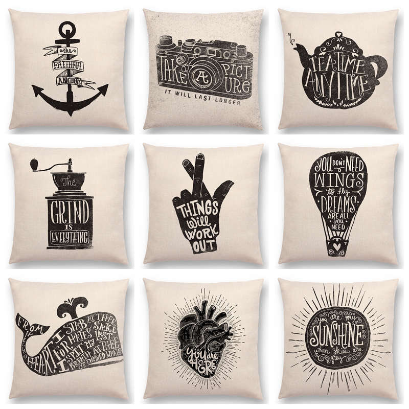 US $3.34 33% OFF|Black And White Decorative Letters Interesting Pattern  Anchor Camera Teapot Grinder Whale Fox Cushion Cover Sofa Pillow Case-in ...