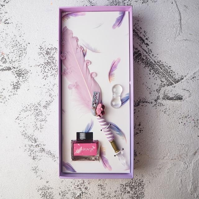 JUGAL Cute Feather, стеклянная ручка, погружная ручка, золотые Порошковые чернила, подарочный набор, перьевые ручки, Школьные Инструменты для письма, товары для рукоделия