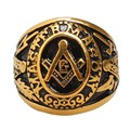 Freemason Men's Gold Tone Free Mason Master Mason Stainless Steel Masonic Ring