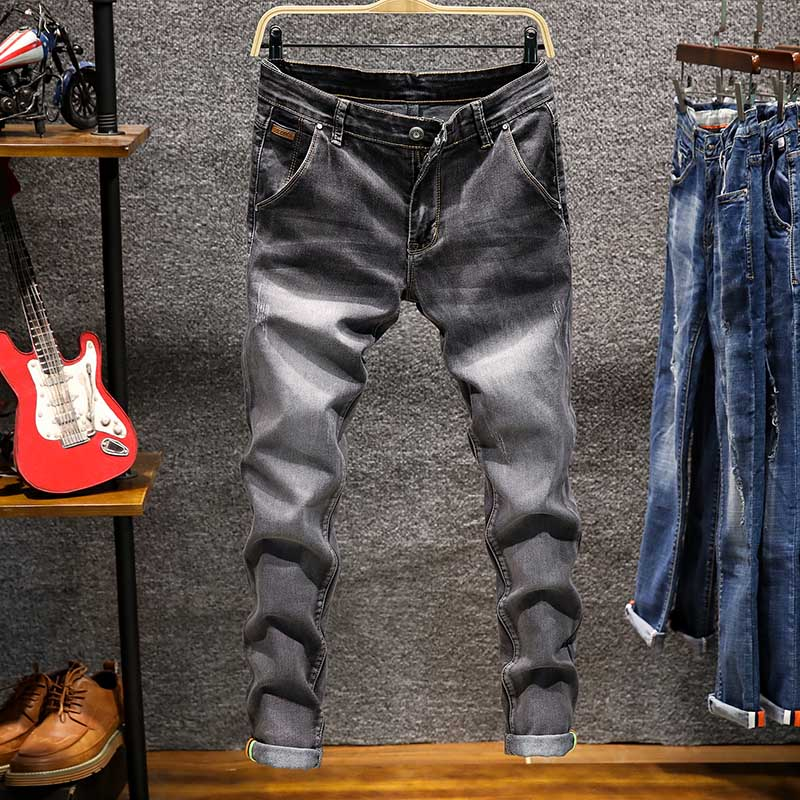 AIRGRACIAS Brand 2019 Fashion Jeans Men Business Casual Stretch Slim Jeans 5 Color Classic Vintage Trousers Denim Pants Jean Men