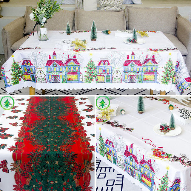vintage christmas table cloth decor candy canes ribbons holly tablecloth polyester fabrics