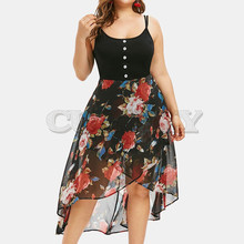 Cuerly Women Chiffon Sexy Plus Size Sleeveless Button Floral Print Overlay High Low Dress Lady Large Size Elegant Party Sundress plus mixed print high low tee