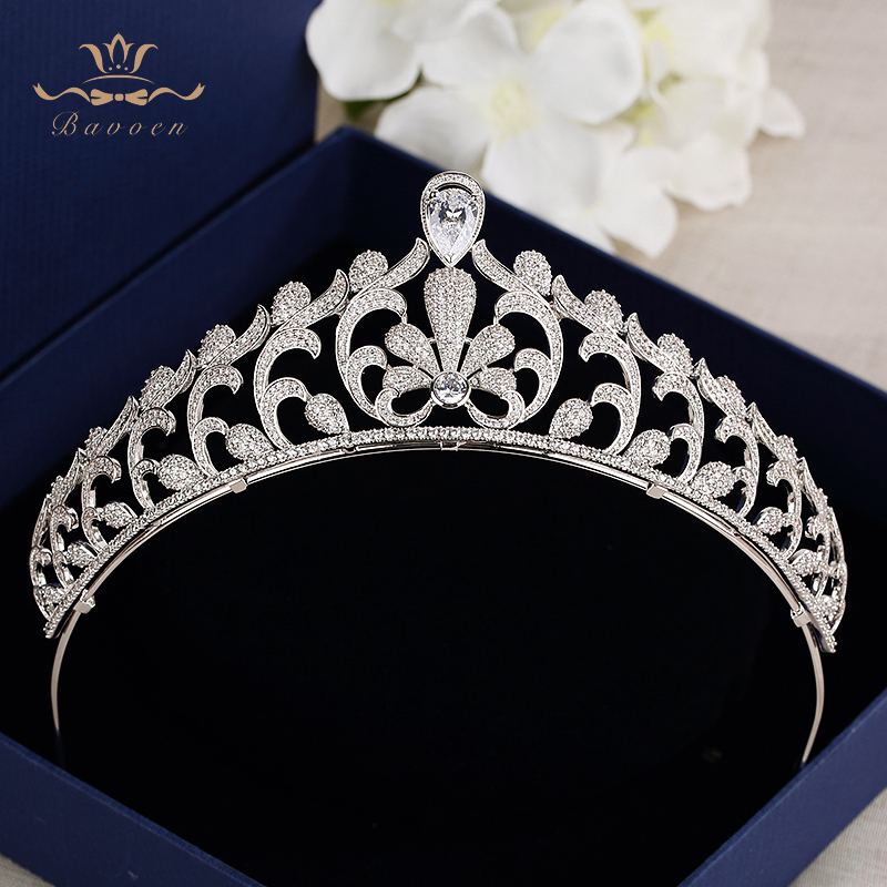 Bavoen Elegant Clear Full Zircon Brides Crowns Tiaras Silver Crystal Wedding Hairbands Leaves Bridal Hair Accessories Jewelry цена