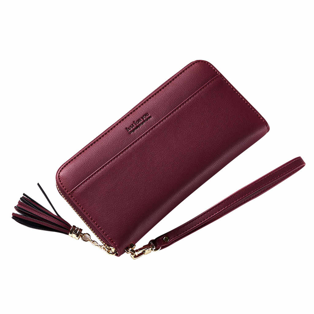 DamskiePortfeleITorebki moda jednolity kolor portfele damskie Tassel torebka z paskiem na nadgarstek pasek na nadgarstek długi torebka anglia styl # JX