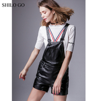 SHILO GO Leather Jumpsuits Autumn Fashion sheepskin genuine leather playsuits spaghetti strap concise side pocket loose bodysuit