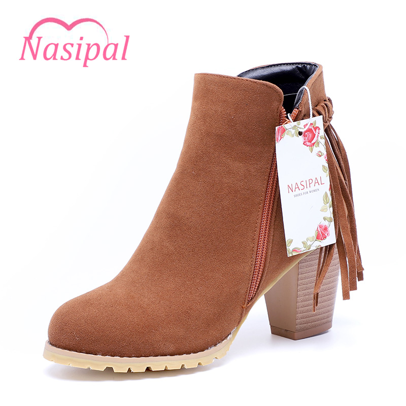 Nasipal Autumn And Winter Fashion Women Boots Fringe Tassels Buckle 2017 Round Toe Flock Women Boots Thick Heel Women Shoes G99 march mordern autumn and winter women