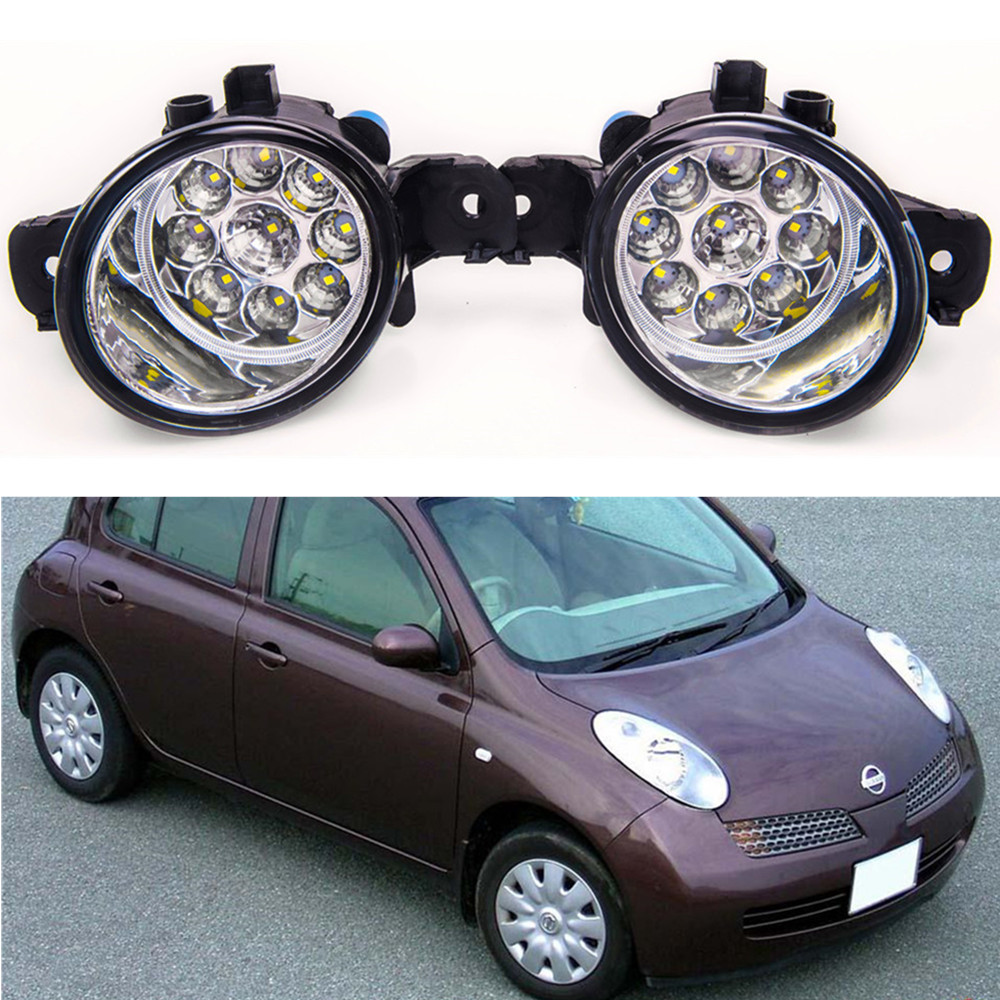 For NISSAN MARCH 3  K12  2003-2010 Car styling High brightness LED fog lights DRL lights 1SET молдинги 10 nissan march bc