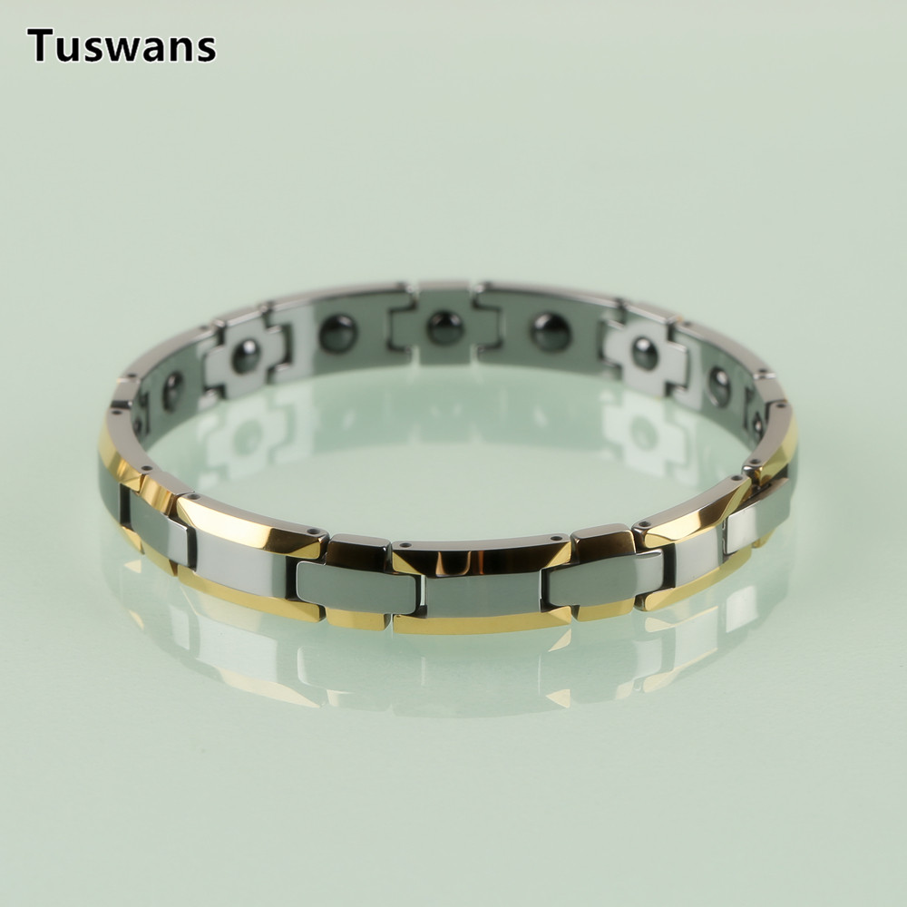 Image 4 - Delicate Lovers Style Gold Color H shaped Tungsten Bracelets & Bangles with Magnetic Therapy Magnet Lovers Gifts(TSWB20)-in Chain & Link Bracelets from Jewelry & Accessories