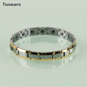 Image 4 - Delicate Lovers Style Gold Color H shaped Tungsten Bracelets & Bangles with Magnetic Therapy Magnet Lovers Gifts(TSWB20)