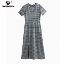 ROHOPO Women Black White Plaid Preppy Girl Midi Dress Short Sleeve British Style Chic Cotton Woman A-line Vestido #UK9122