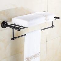 Fashion Antique Brass Black Towel Rack, Bathroom Luxury Accessories Towel Bars Shelf ,Bronze Vintage Towel Holder /toalheiros