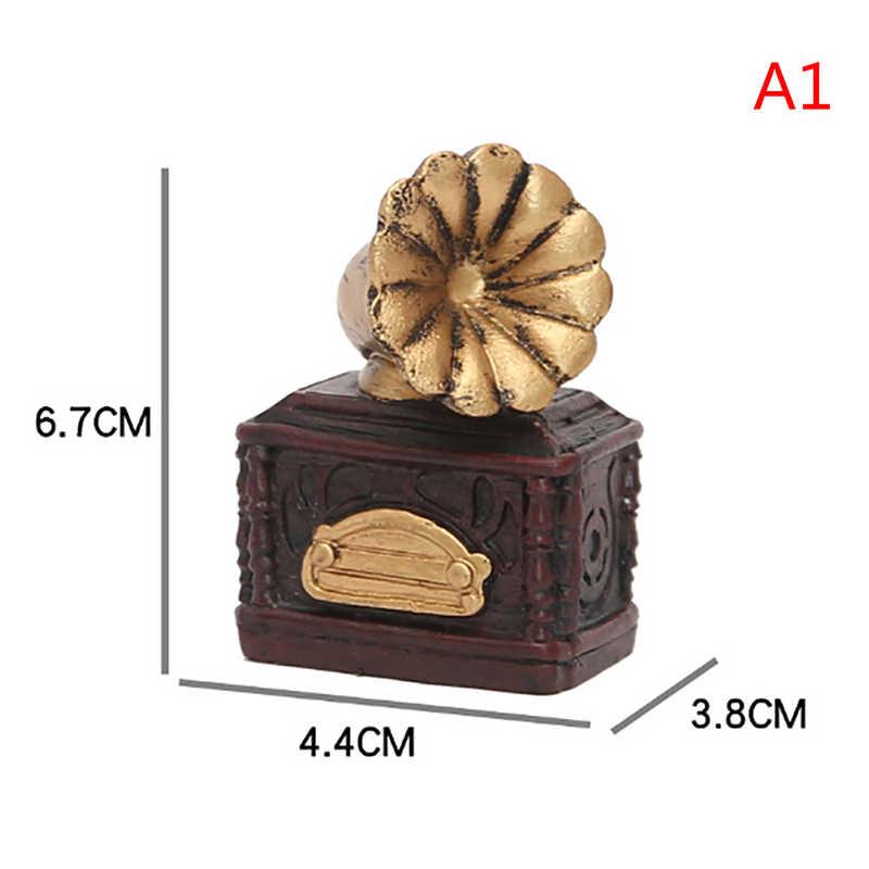 Mini Retro pequeño teléfono Radio Pianos cámaras juguete casa de muñecas miniaturas 1:12 accesorios imitación antigua casa de muñecas
