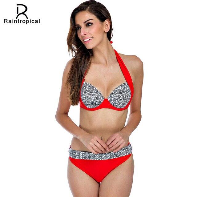 7c61b67504 Sexy Bikini Swimwear Women Swimsuit 2018 Summer Beach Halter Top Push Up  Bikini Set Plus Size Bathing Suit Bandeau Swim Wear 2XL
