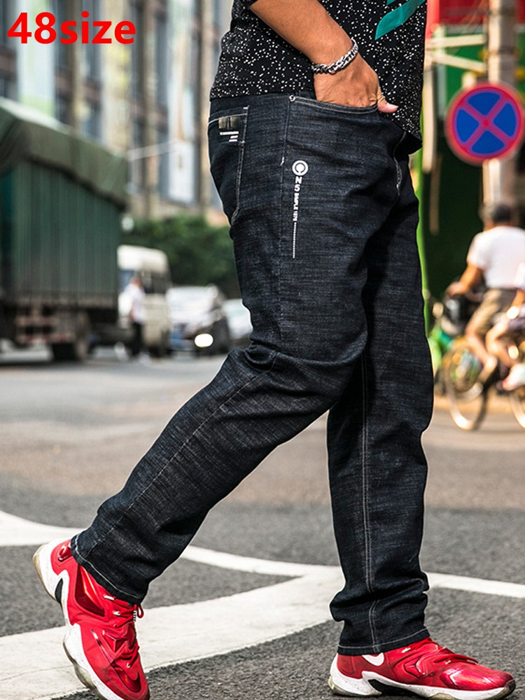 Autumn Elastic Tight Belt Oversized Jeans Male Loose Large Size Casual Stretch 48 46 44 42 40 Extra Large Size Men's Pants