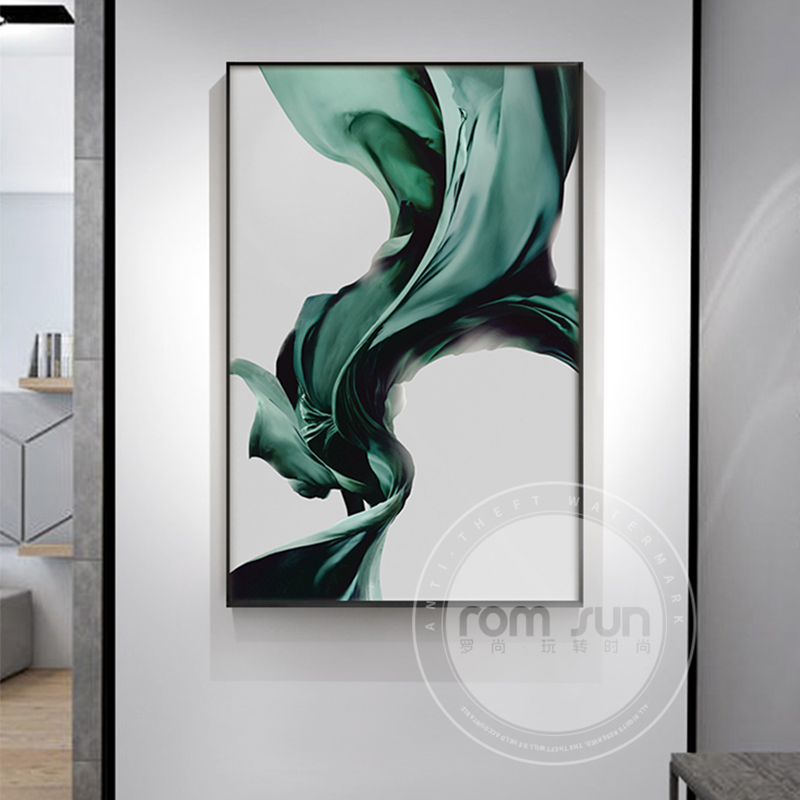 Abstract Green Silk Canvas Painting Nordic splash Ink Wall Art Picture for Living Room Entrance Modern Minimalist Poster Print
