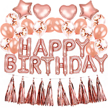 16inch Rose Gold Inflatable Happy Birthday Confetti Balloon Tassel Garland Star Heart Foil for Party Decoration