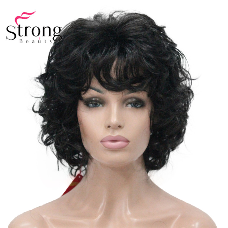StrongBeauty Short Fluffy Layered Curly Black Full Synthetic Wig For Women