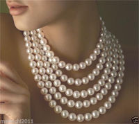 long 100 9 10mm Genuine white akoya pearl necklace not with clasp