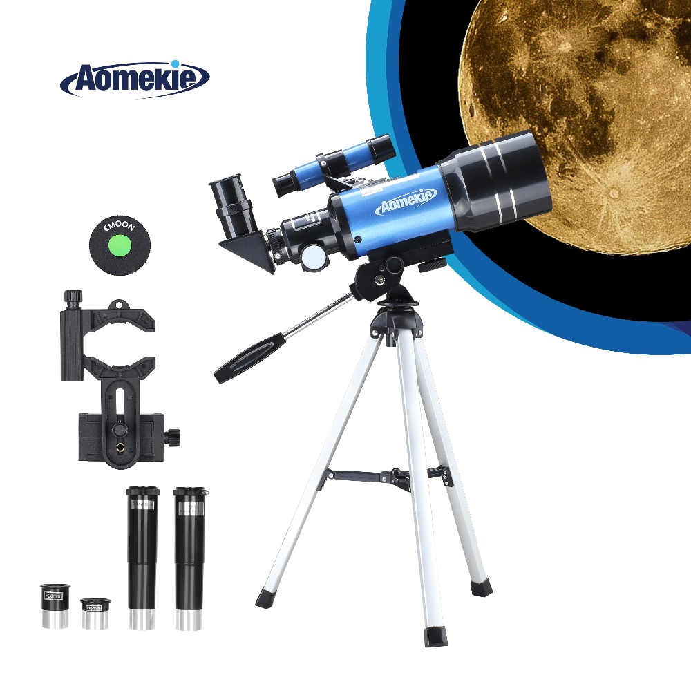 AOMEKIE 70300 Telescope for Beginner with Tripod Phone Adapter 1.5X Erecting Eyepiece 3X Barlow Lens for Moon Watching Kids Gift image