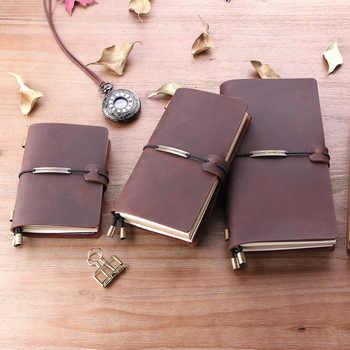 100% Genuine Leather Traveler\'S Notebook Diary Journal Pocket Vintage Leather Travel Vintage Cowhide Gift Handmad Notebook