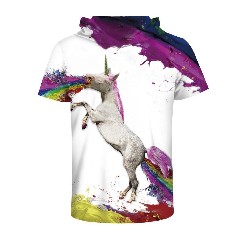 Arc-en-ciel cheval impression numérique haut à la mode vitesse sèche à manches courtes respirant col rond T-shirt