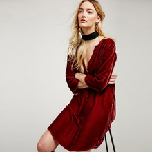 2af830cf79 Haoduoyi The new Fashion Solid Color Sexy V-Neck Shirt Dress knee-length  Emoire double pockets Red Elegant Casual Sexy and Club