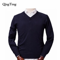 QingTeng Pullover Men Knitted Cashmere Wool Sweaters 2017 New Autumn Winter Warm Soft Long Sleeve V Neck Sweater Shirt Male
