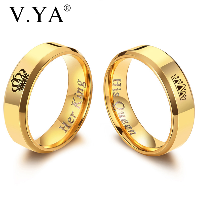 V.YA Crown Wedding Rings for Women His Queen & Her King Men Couple Jewelry Black Gold Color Stainless Steel Rings Drop Shipping titanium ring
