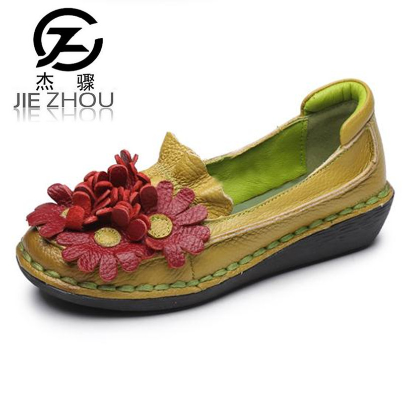 Vintage handmade Genuine leather flowers single shoes female Flats Spring and autumn women's shoes pregnant women shoes leather shoes handmade shoes spring and summer new style soft genuine leather flats shoes shoes for pregnant women flats