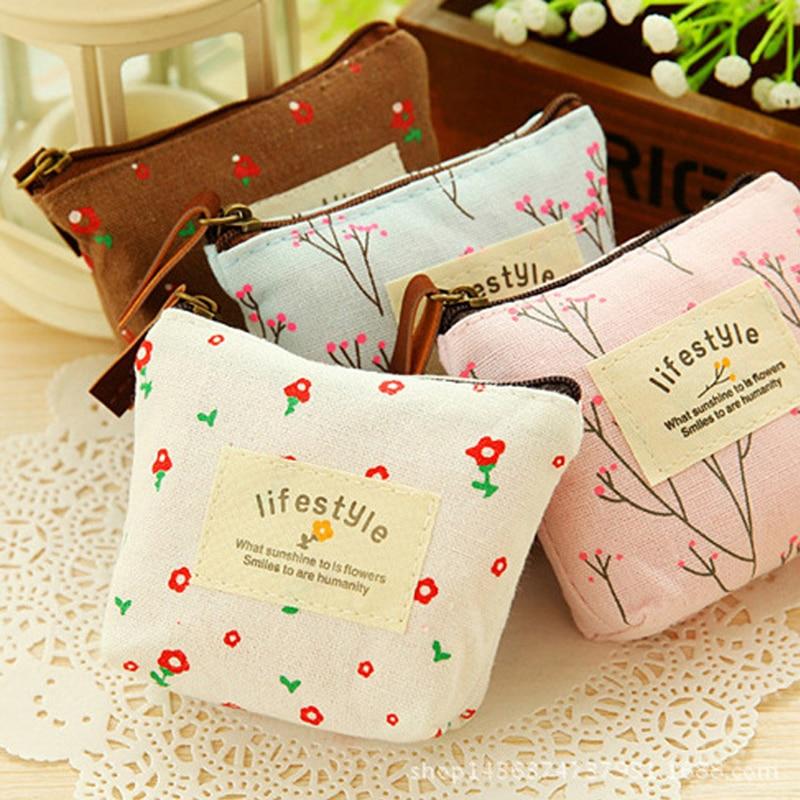 Cute Floral Flower Pencil Case Small Canvas Purse Zip Wallet Lady Coin Case Bag Handbag Key Holder Kawaii Bag 1pcs