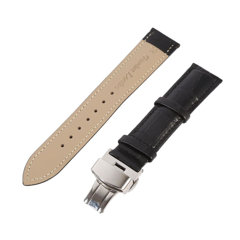 New Butterfly buckle Watchband Genuine Leather Black Coffee Watch Band 16mm 18mm 20mm 22mm 24mm Watch