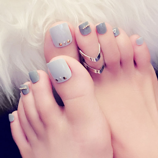 New Toenail 24pcs Nail Art Products Fake Nails Patch Fashionable Grey Toenails Manicures Contains No