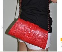 alligator skin clutch women should bag genuine crocodile skin leather cross body bag red color