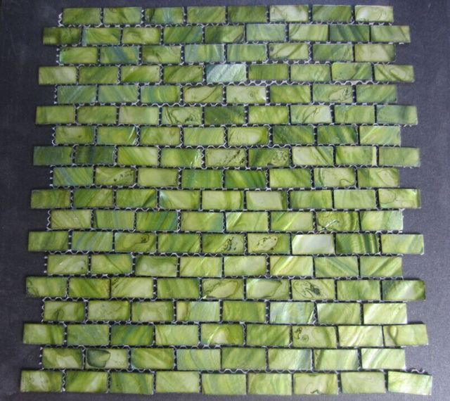 Dyed Green Decorative Mosaic Brick Tile 3 5 X 1 6 Inch