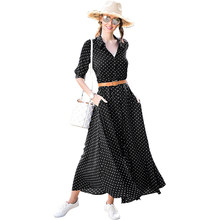 2018 New Women Autumn Long Sleeve Ankle Length Holiday Dress Red Black Royal Blue Polka Dot Button Down Maxi Dress vestido(China)