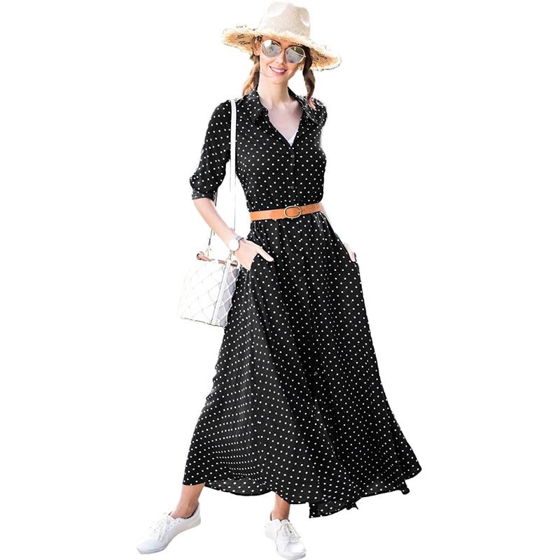 2018 New Women Autumn Long Sleeve Ankle Length Holiday Dress Red Black Royal Blue Polka Dot Button Down Maxi Dress vestido