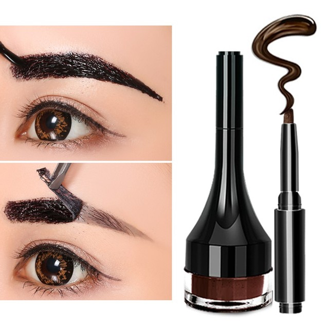 1pcs Eyebrow Gel Pencil Makeup Waterproof Lock Color Cream 2 Colors Eyebrow Tint Brown 3D Natural Eyebrow Pen With Brush