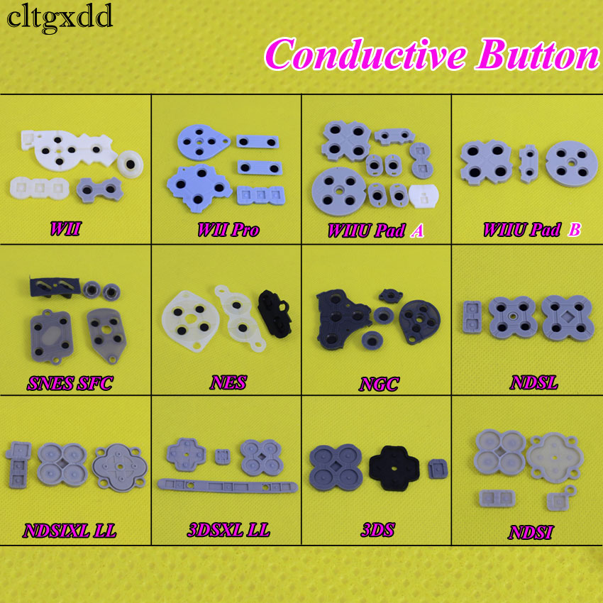 cltgxdd 1Set For WII Pro WIIU Pad Conductive Rubber Adhesive Button Pad Set For Nintendo DS Lite DSL SNES NES for 3DS 3DSXL LLcltgxdd 1Set For WII Pro WIIU Pad Conductive Rubber Adhesive Button Pad Set For Nintendo DS Lite DSL SNES NES for 3DS 3DSXL LL