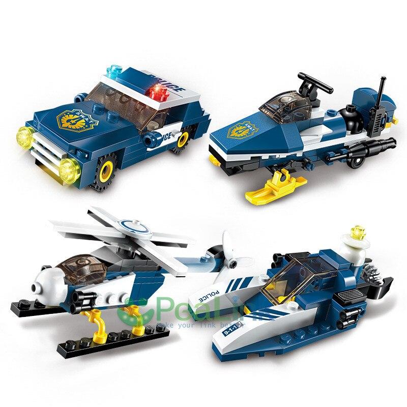 Enlighten 1801 381 հատ հատ 8in1 Police Car Fighter - Կառուցողական խաղեր - Լուսանկար 4