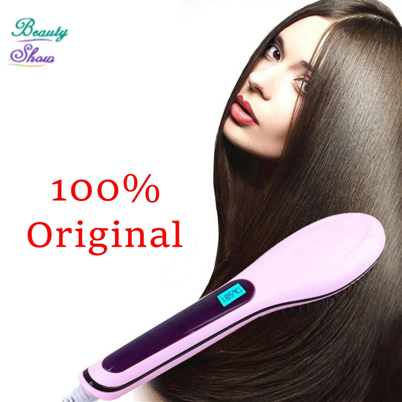 2016 New Hair Brush Auto Fast Hair Straightener Comb Irons With LCD Display Electric Straight Hair