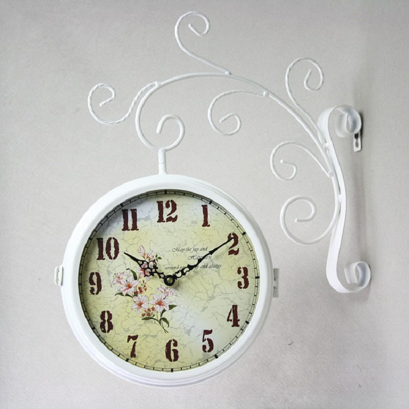 Vintage watch double sided wall clock wrought iron wall - Wanduhr digital groay ...