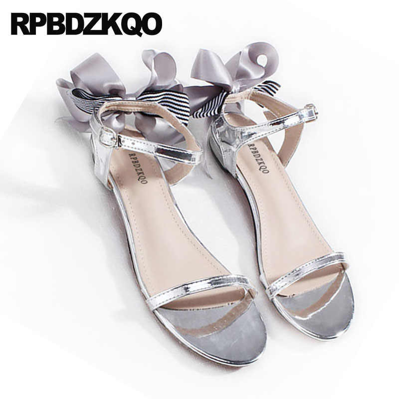 858ff534f ... Bow Double Strap Sandals 2018 Pumps Cute Casual Gold Block Low Heel  Women Silver Thick Shoes ...