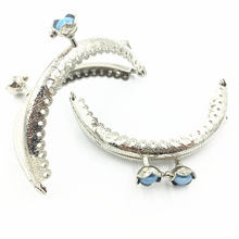 1Pc Kiss Clasps Clips Lock Clutch Handbag Coins Purse Handle Silver Tone Arch Frame Blue Resin Ruffled Flower 8.5cm