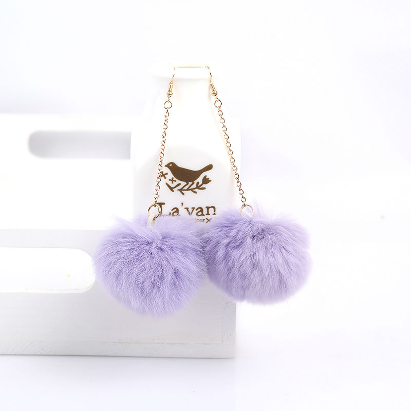 Véritable fourrure de lapin Pom Pom Ball Dangle Boucles d'oreilles - Bijoux fantaisie - Photo 2