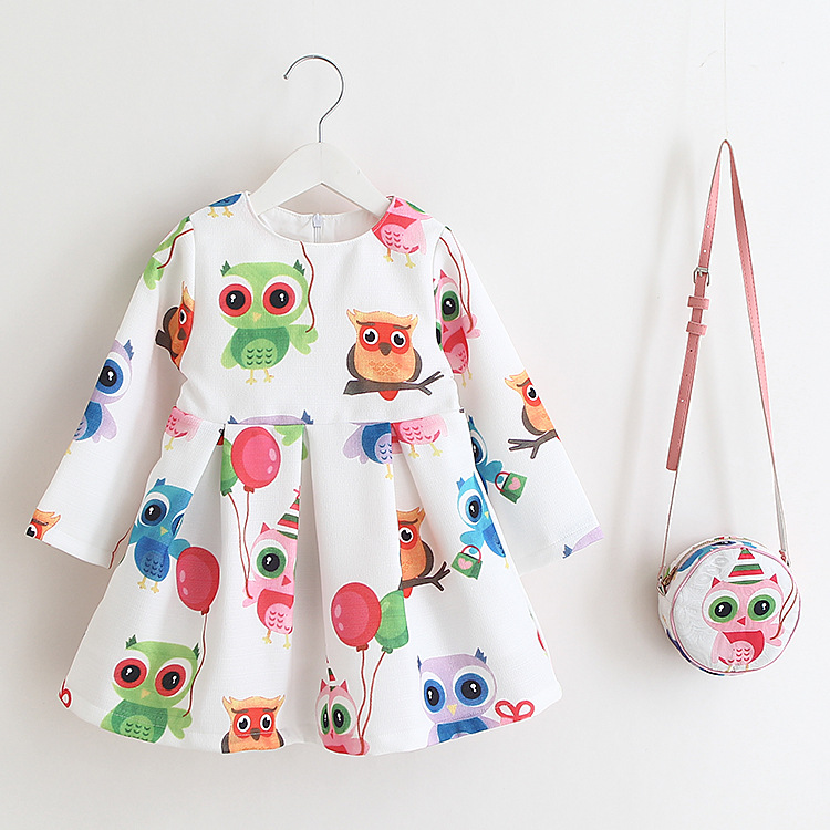 Children'S Dress For Girls Spring Printed Owl Cotton Clothes Kids Baby Long-Sleeved Princess Dress Fashion Party Clothing+Bag