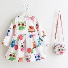 Детская платье для Обувь для девочек весна печатных Сова одежда из хлопка для маленьких детей с длинными рукавами платье принцессы модная одежда для вечеринки + сумка
