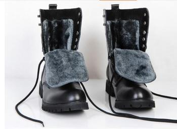 New leather men boots winter man Warm shoes  boot martin cowboy autumn man fur velvet