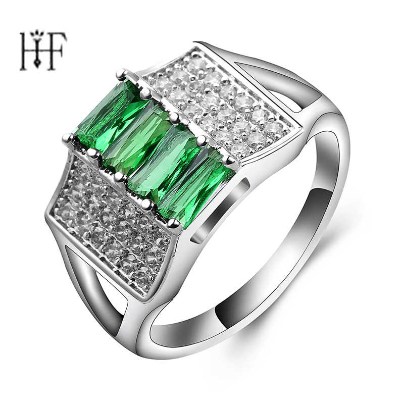 Bague Homme Square Bands Office/Career finger ring Pave cubic Zirconia crystal trendy Jewelry for Women Rings Green Crystal
