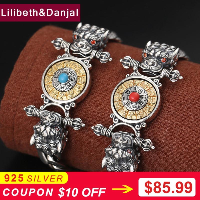 2019 New Turquoise Buddha Vajra Mantra Zodiac Dragon Rotatable Bracelet Bangle 100 925 Sterling Silver Jewelry